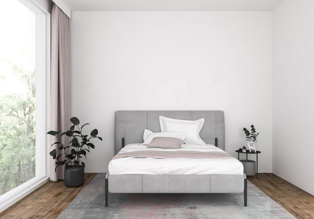 Современная спальня с глухой стеной, фоном художественного произведения. Premium Фотографии