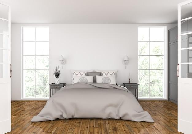 Спальня с пустым макетом стены Premium Фотографии