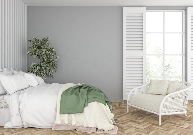 Спальня с глухой стеной макет Premium Фотографии