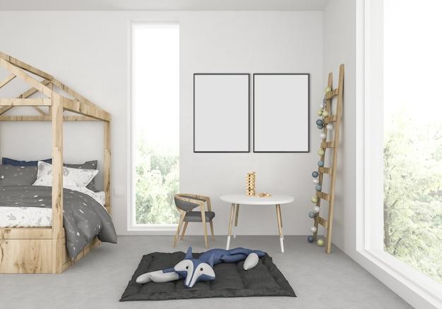 空のダブルフレームのある子供部屋 Premium写真