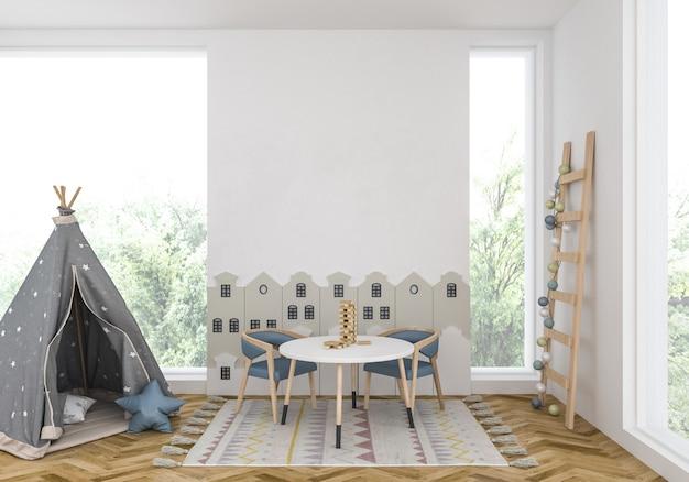 空白の壁と子供部屋 Premium写真