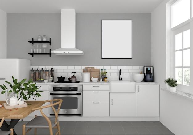 スカンジナビアのキッチンと縦型フォトフレーム Premium写真