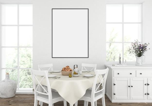 素朴な白いキッチン、垂直フレームモックアップ、アートワークディスプレイ Premium写真