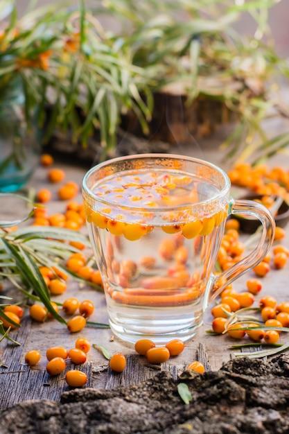 ガラスの海クロウメモドキの果実と熱いお茶 Premium写真
