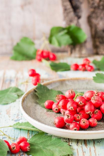 秋の静物素朴なプレート上の葉を持つサンザシの果実の収穫 Premium写真