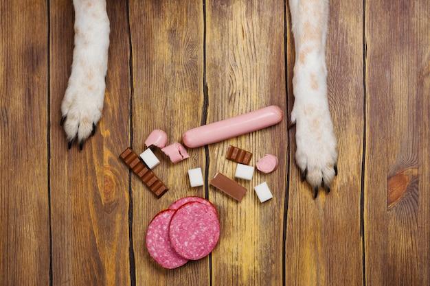 犬の足とネブと禁止された犬の食事のヒープ Premium写真