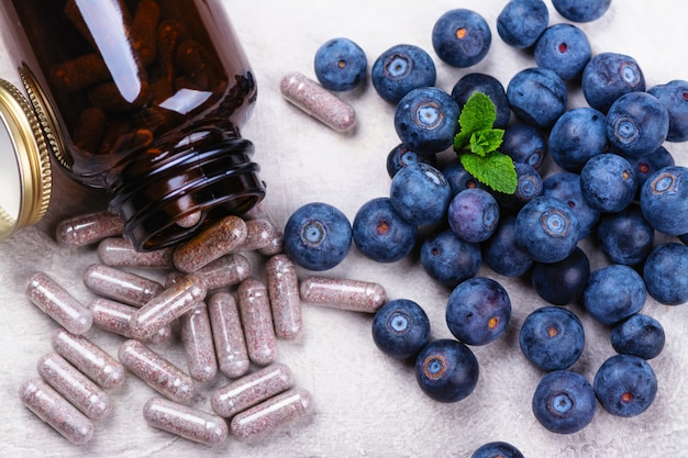 生理活性サプリメント - 健康な目のための丸薬 Premium写真