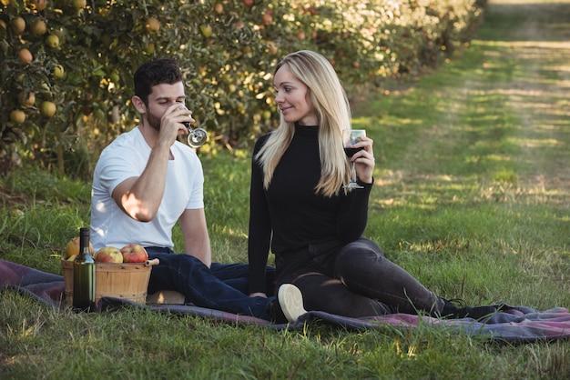 リンゴ園でワインを持っているカップル 無料写真