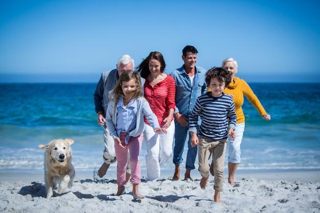 Счастливая семья с собакой на пляже Premium Фотографии