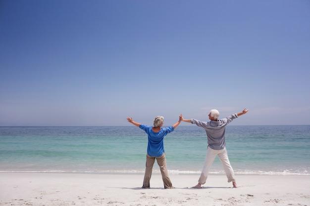 ビーチに立っている年配のカップルの背面図 Premium写真