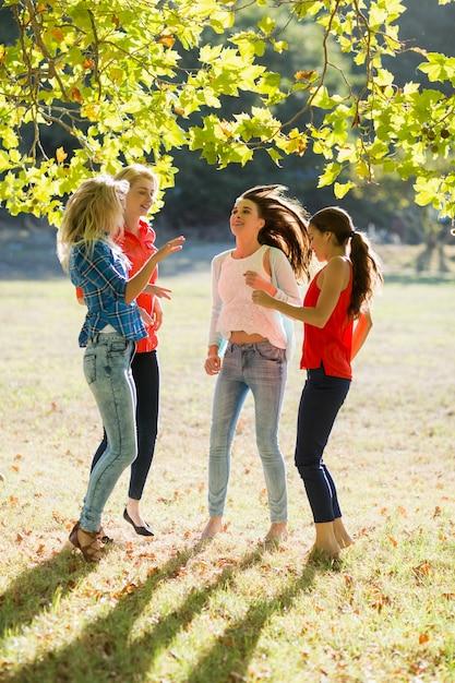 公園で楽しんでいる友人のグループ Premium写真