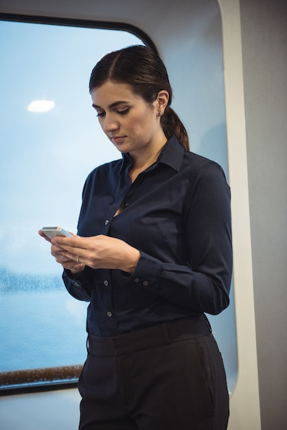 電車の中で立っている間電話を使用して実業家 無料写真