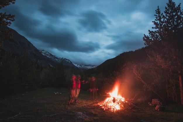 リモートのカラマツと松の木の森にキャンプの火を燃やす Premium写真