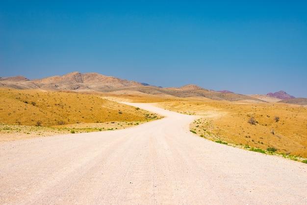 カラフルなナミブ砂漠を横切る砂利の曲がりくねった道、雄大なナミブナウクルフト国立公園、アフリカのナミビアで最高の旅行先。 Premium写真