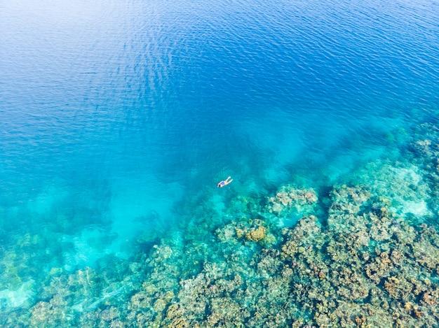 Коралловый риф на тропическом море Premium Фотографии