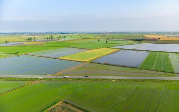 空中:水田、,濫した耕作地の農地、イタリアの田舎の田園地帯、農業の職業、ピエモンテ、イタリアのスプリンタイム Premium写真