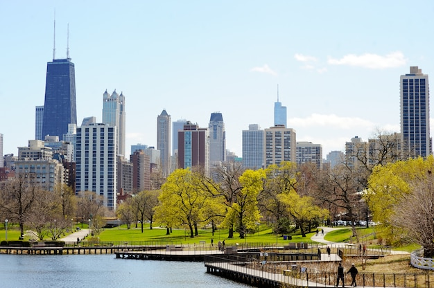 リンカーンパーク湖から見た高層ビルとシカゴのスカイライン Premium写真