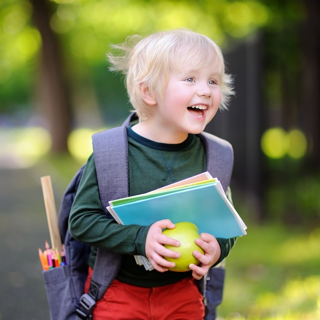 彼のバックパックとリンゴとかわいい小さな男子生徒。学校のコンセプトに戻る Premium写真