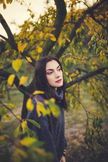 秋の公園でセーターで美しい少女 Premium写真