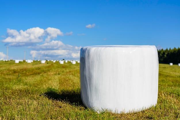 プラスチック製の覆いカバーの丸い干し草の俵 Premium写真