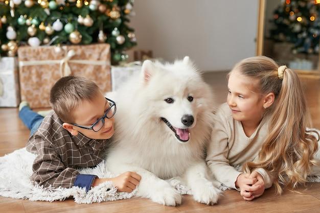 子供の女の子とクリスマスの背景にサモエド犬と少年 Premium写真