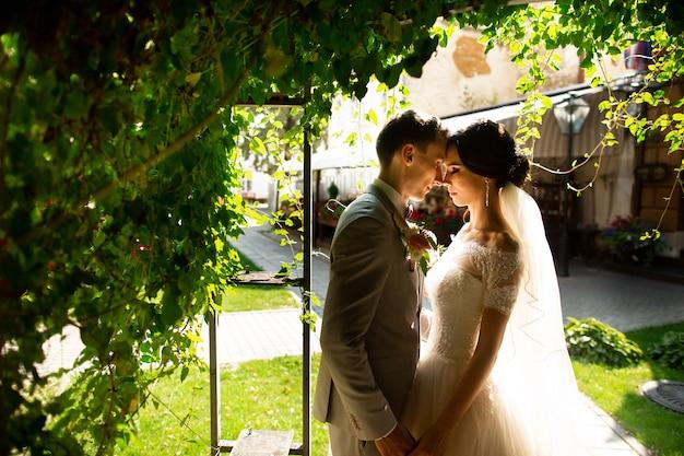 豪華な結婚結婚式のカップル、新郎新婦、旧市街のロマンチックな中庭でポーズをとる Premium写真