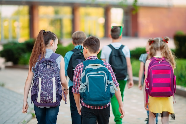 Группа детей, ходить в школу вместе. Premium Фотографии