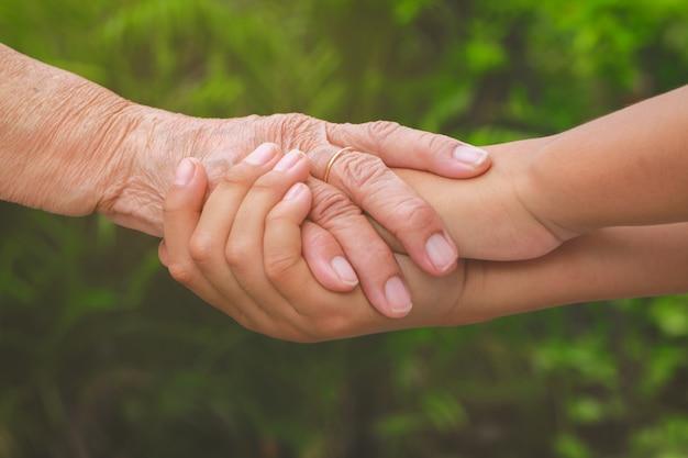 若い女性の手、ケアとサポートの概念を持っている古い女性の手 Premium写真