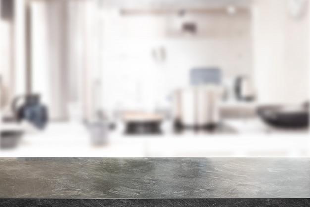 大理石のテーブルトップ、デスクスペース、キッチンの背景のぼやけ。製品表示モンタージュに使用できます。ビジネスプレゼンテーション。 Premium写真