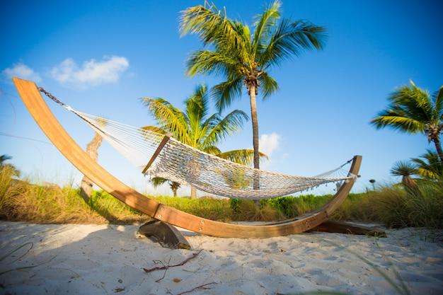熱帯のビーチでヤシの影でロマンチックなハンモック Premium写真