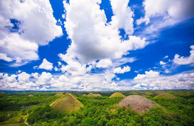 ボホール島、フィリピンの緑の珍しいチョコレートヒルズ Premium写真