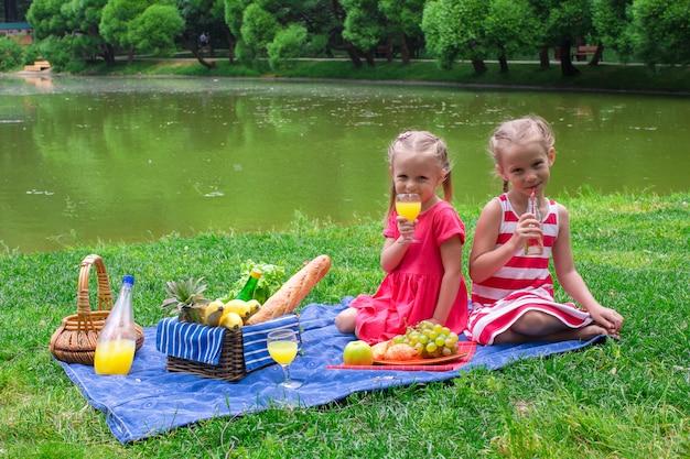 晴れた日に公園でピクニックの愛らしい小さな子供たち Premium写真