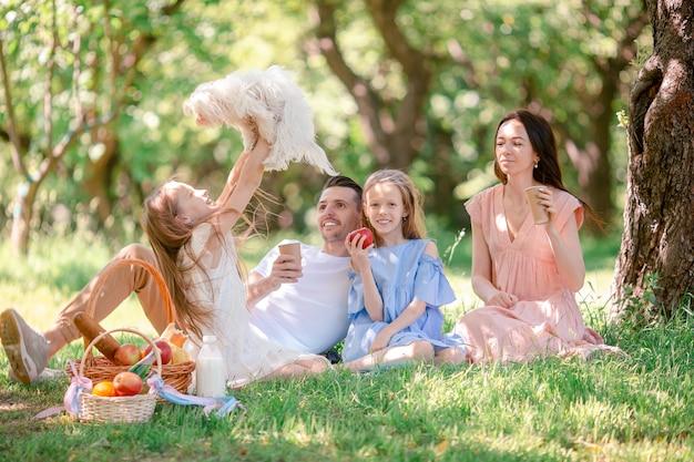 Счастливая семья на пикнике в парке в солнечный день Premium Фотографии