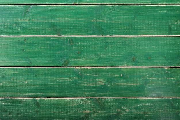 古いビンテージグリーンペイント木の板の背景面 Premium写真