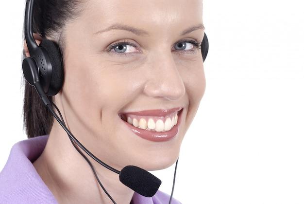 Улыбающийся телефонист Premium Фотографии