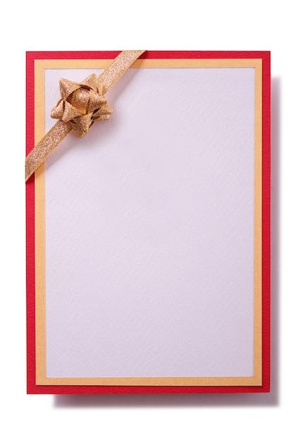 ゴールドリボンと赤枠のギフトカード 無料写真