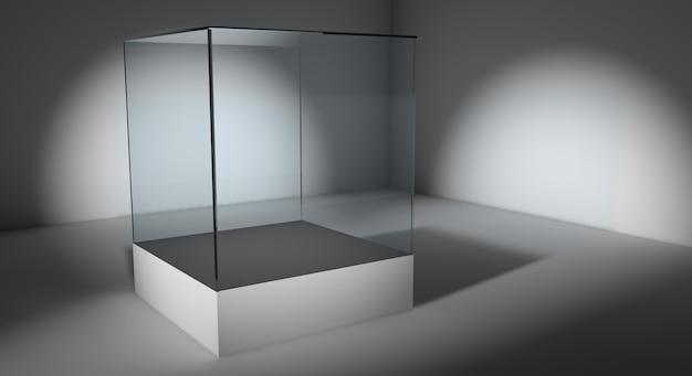 Пустая стеклянная витрина Premium Фотографии