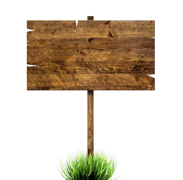 緑の芝生で木の看板 Premium写真