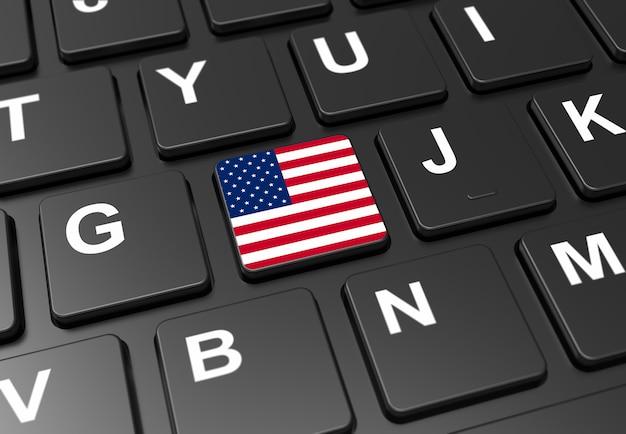 黒いキーボードにアメリカ国旗を持つボタンのクローズアップ Premium写真