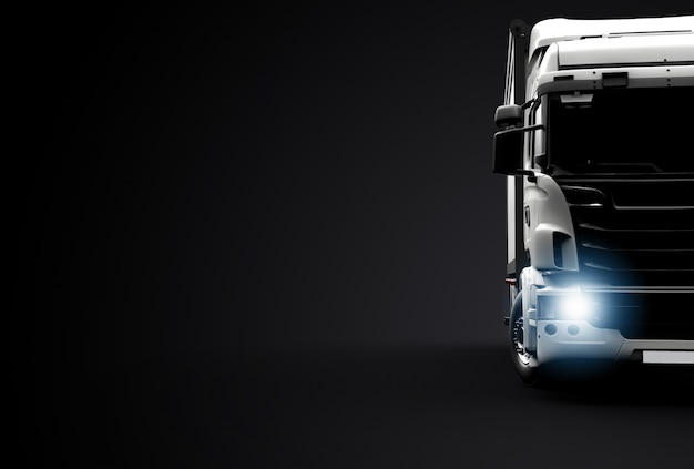 Вид спереди грузовика Premium Фотографии