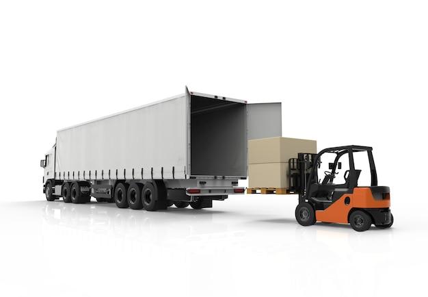 Вилочный погрузчик и грузовик Premium Фотографии