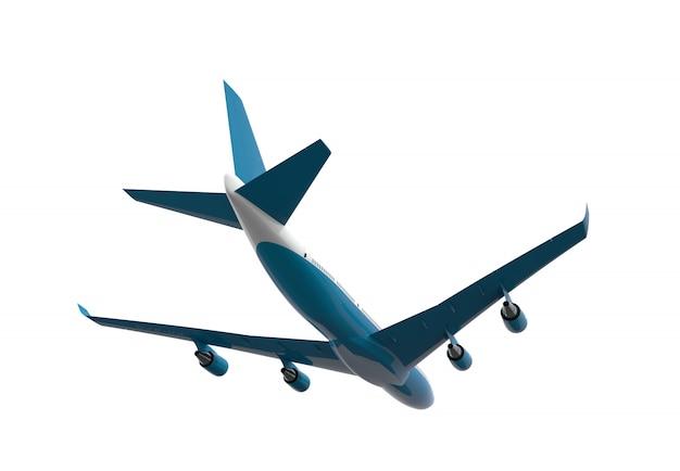 白で隔離される青と白の飛行機裏 Premium写真
