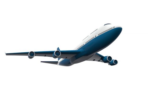白で隔離される青と白の飛行機 Premium写真