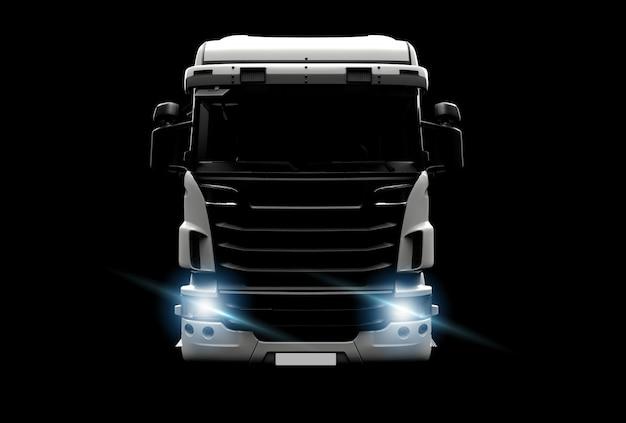 暗闇の中で大きな白いトラック Premium写真