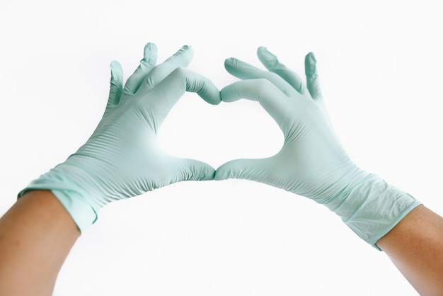 医療用手袋のハート Premium写真
