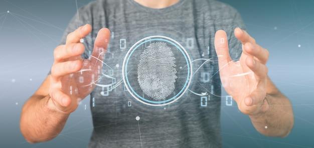 Бизнесмен, проведение цифровой идентификации отпечатков пальцев и двоичного кода Premium Фотографии