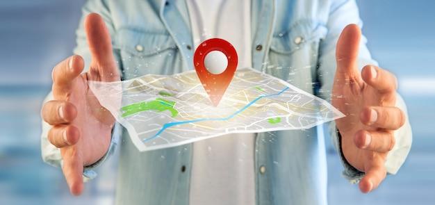 地図上のピンホルダーを抱きかかえた Premium写真