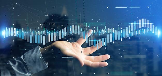 Человек, держащий бизнес данные фондовых бирж данных Premium Фотографии