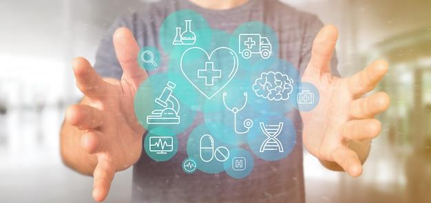 Бизнесмен, проведение медицинской значок и подключение Premium Фотографии