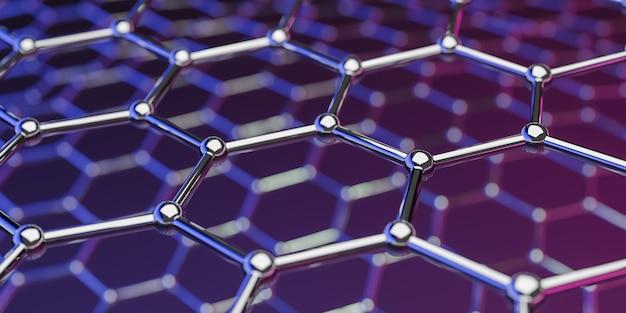 パープルピンクのグラフェン分子ナノテクノロジー構造の見方 Premium写真